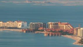 Widok z lotu ptaka Palmowy Jumeirah wyspy timelapse zdjęcie wideo