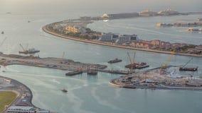 Widok z lotu ptaka Palmowy Jumeirah wyspy timelapse zbiory wideo