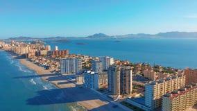 widok z lotu ptaka Panoramiczny widok Los Angeles Manga Del Mącący Menor, Cartagena, Murcia, Hiszpania zbiory