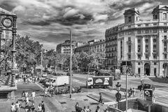 Widok z lotu ptaka Passeig De Gracia, Barcelona, Catalonia, Hiszpania Zdjęcie Stock