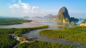 Widok z lotu ptaka Phang Nga zatoka Zdjęcia Royalty Free