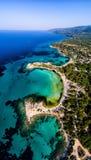 Widok z lotu ptaka piękna Karidi plaża w Vourvourou Zdjęcia Stock