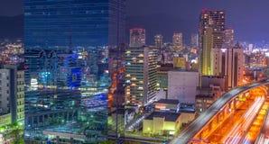 Widok z lotu ptaka piękny nocy miasta głąbik, Japonia obraz royalty free