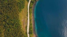 Widok z lotu ptaka piękna linia brzegowa na tropikalnej wyspie Camiguin wyspa Filipiny Obraz Stock