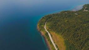 Widok z lotu ptaka piękna linia brzegowa na tropikalnej wyspie Camiguin wyspa Filipiny Obrazy Stock