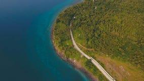 Widok z lotu ptaka piękna linia brzegowa na tropikalnej wyspie Camiguin wyspa Filipiny Zdjęcie Royalty Free