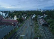 Widok z lotu ptaka, Piękna stacja kolejowa w Chiang mai, Tajlandia Zdjęcia Royalty Free