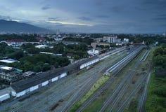 Widok z lotu ptaka, Piękna stacja kolejowa w Chiang mai, Tajlandia Obrazy Royalty Free