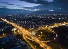 Widok z lotu ptaka, Piękna wysoka sposób ulica w Chiang mai, Tajlandia Fotografia Royalty Free
