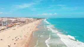 Widok z lotu ptaka pi?kne pla?e Costa Blanco, Hiszpania zbiory