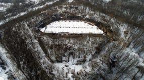 Widok z lotu ptaka piękny antyczny forteca w lesie w zimie Tarakaniv fort Zdjęcie Stock