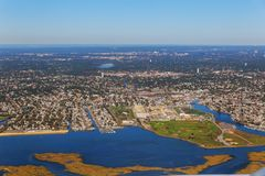 Widok z lotu ptaka piękny miasto krajobraz przy NOWY JORK jeziorna chmura Fotografia Royalty Free