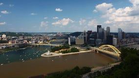 Widok z lotu ptaka Pittsburgh, Pennsylwania śródmieście obraz royalty free