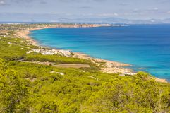 Widok z lotu ptaka plaże w Formentera, Hiszpania Fotografia Royalty Free