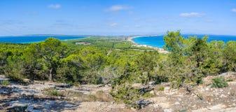 Widok z lotu ptaka plaże w Formentera, Hiszpania Fotografia Stock