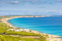 Widok z lotu ptaka plaże w Formentera, Hiszpania Zdjęcie Stock