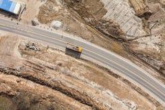 Widok z lotu ptaka plac budowy droga Fotografia Stock