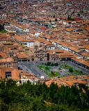 Widok z lotu ptaka Plac De Armas, Cusco, Peru zdjęcia stock