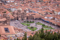 Widok z lotu ptaka Plac De Armas w Cusco, Peru obrazy stock