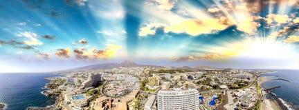 Widok z lotu ptaka Playa De Las Amerykanin Ans Los Cristianos, Teneri Obrazy Stock