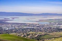 Widok z lotu ptaka południowy San Francisco zatoki teren, Milpitas, Kalifornia zdjęcie royalty free