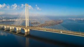 Widok z lotu ptaka Południowy most Widok z lotu ptaka Południowego metra kablowy most Kijów, Ukraina Fotografia Royalty Free