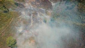 Widok z lotu ptaka pożar lasu Jawy wyspa, Indonezja zbiory