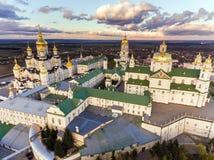 Widok z lotu ptaka Pochaev monaster, Ortodoksalny kościół, Pochayiv Lavra, Ukraina obrazy royalty free