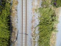 Widok z lotu ptaka pociągu ślada Fotografia Stock