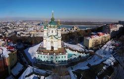 Widok z lotu ptaka Podol i St Andrew kościół w Kijów Obraz Royalty Free
