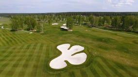 Widok z lotu ptaka pole golfowe Piasków bunkiery przy pięknym polem golfowym fotografia stock