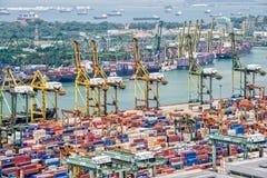 Widok z lotu ptaka port Singapur Obrazy Stock