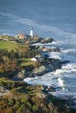 Widok z lotu ptaka Portland głowy latarnia morska, przylądek Elizabeth, Maine fotografia stock