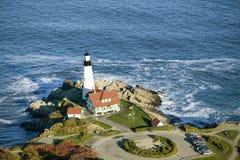 Widok z lotu ptaka Portland głowy latarnia morska, przylądek Elizabeth, Maine fotografia royalty free