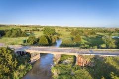 Widok z lotu ptaka Posępnie rzeka w Nebraska Zdjęcia Royalty Free