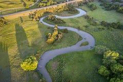 Widok z lotu ptaka Posępnie rzeka w Nebraska Fotografia Stock