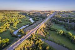 Widok z lotu ptaka Posępnie rzeka w Nebraska Obraz Stock