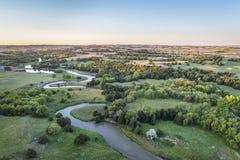 Widok z lotu ptaka Posępnie rzeka w Nebraska Zdjęcia Stock