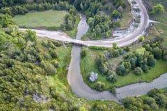 Widok z lotu ptaka Posępnie rzeka w Nebraska Zdjęcie Royalty Free