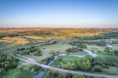 Widok z lotu ptaka Posępnie rzeka w Nebraska Fotografia Royalty Free