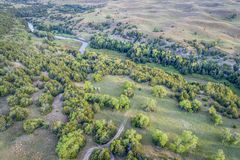 Widok z lotu ptaka Posępnie rzeka w Nebraska Sandhills Obraz Royalty Free