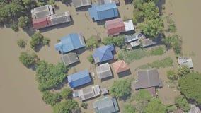 Widok z lotu ptaka powódź w Tajlandia fotografia stock