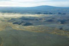 Widok z lotu ptaka powulkaniczny krajobraz zdjęcie stock