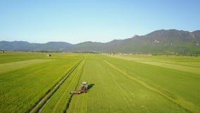 Widok Z Lotu Ptaka Pracować Rolniczego żniwiarza na zieleni polu zbiory wideo