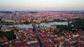 Widok z lotu ptaka Praga stary miasteczko zdjęcie wideo