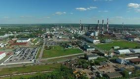Widok z lotu ptaka przemysłowa rafinerii ropy naftowej roślina zdjęcie wideo