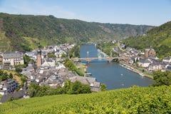 Widok z lotu ptaka przy Cochem Moselle i rzeką zdjęcia royalty free