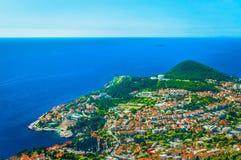 Widok z lotu ptaka przy Dubrovnik linią brzegową, Chorwacja Zdjęcia Stock