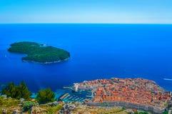 Widok z lotu ptaka przy Dubrovnik Riviera, Chorwacja Zdjęcia Royalty Free