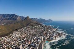 Widok z lotu ptaka przylądek grodzki Południowa Afryka od helikopteru Panorama ptaków oka widok obraz stock